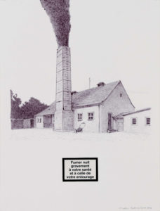 2016, Fumer nuit gravement à votre santé.. (Dachau), stylo bille et collage sur papier, 32x24cm