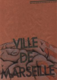 2011, Piece of brain B13, impression laser et aquarelle sur sac poubelle ancien de la ville de Marseille, 30x21cm -scan dessins